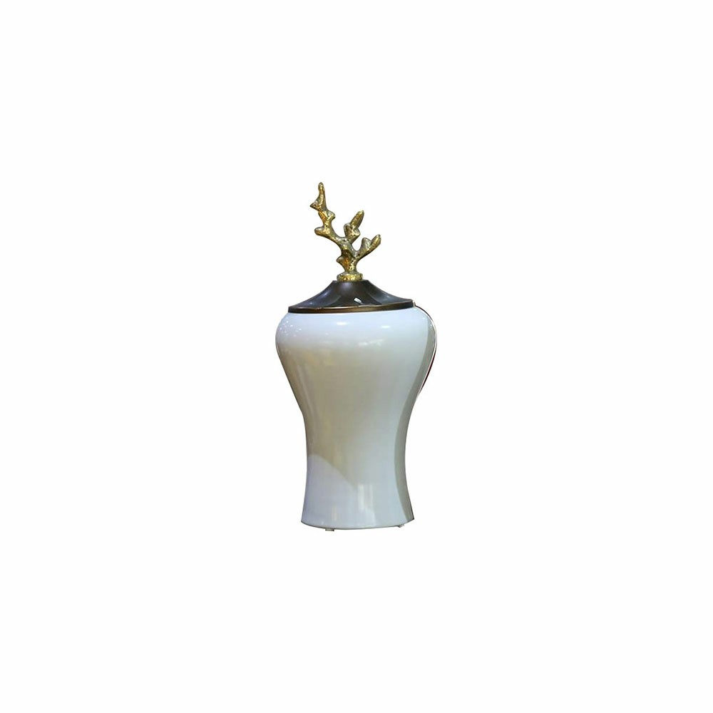 White and Brown small size Vase