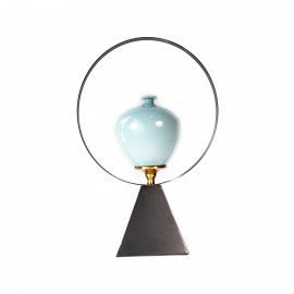 Decor Metal And Blue Candle Holder